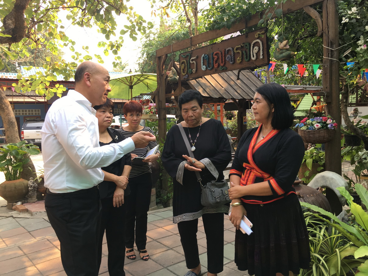Thiraphong Chansiri, Thai Union's CEO, visits a pottery community at Don Kai Dee village, where Benjarong is crafted, in Samut Sakhon.